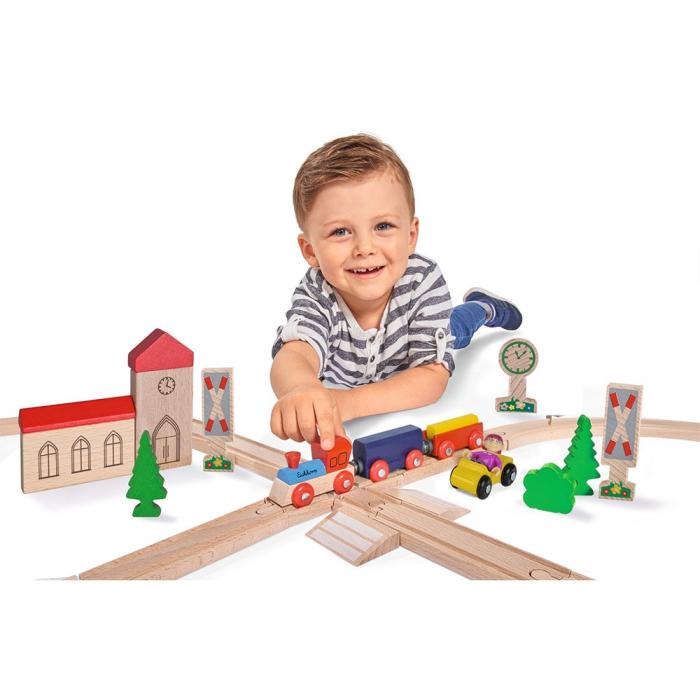 Set din lemn Eichhorn Tren cu sina in forma 8 si accesorii [1]
