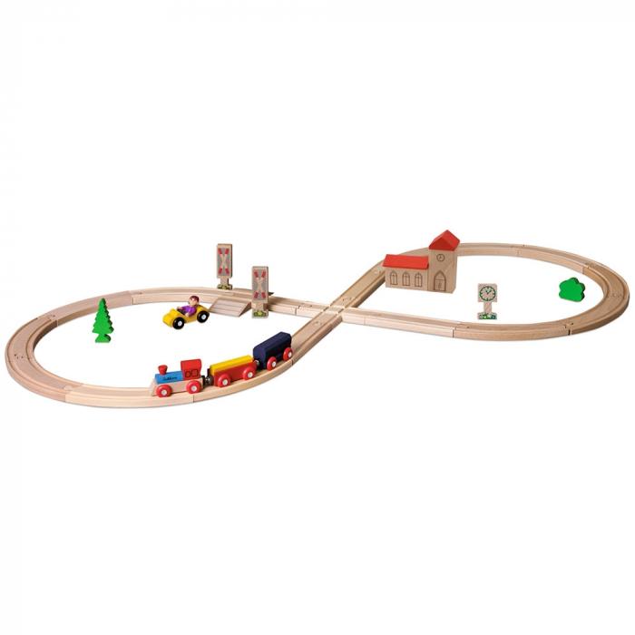 Set din lemn Eichhorn Tren cu sina in forma 8 si accesorii [0]