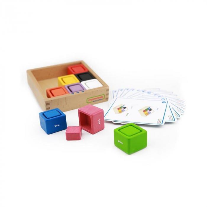 Set educativ cuburi si patrate-recipient, din lemn,+2 ani, Masterkidz, pentru gradinite 1