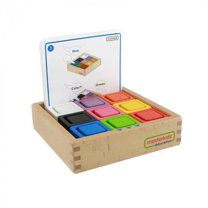 Set educativ cuburi si patrate-recipient, din lemn,+2 ani, Masterkidz, pentru gradinite 0