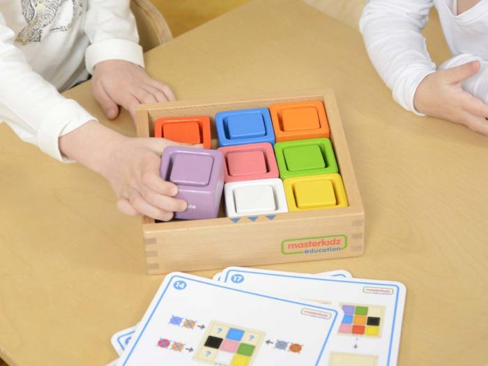 Set educativ cuburi si patrate-recipient, din lemn,+2 ani, Masterkidz, pentru gradinite 3