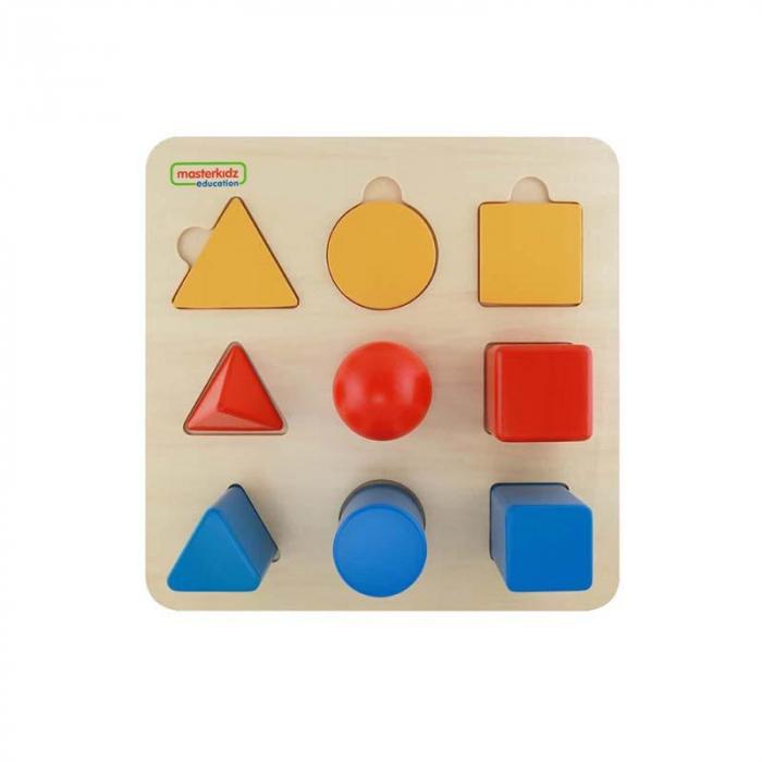 Set educativ forme si corpuri geometrice, din lemn, +2 ani, Masterkidz, pentru gradinite 1