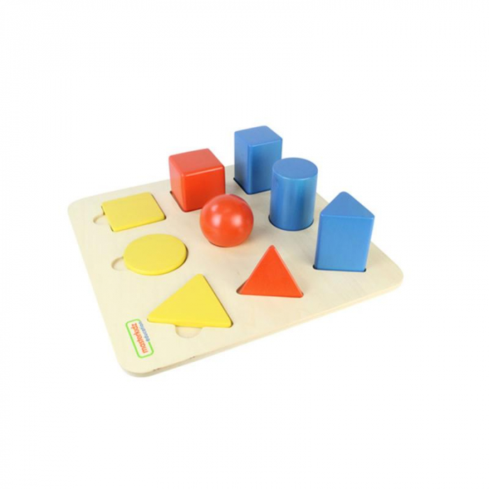 Set educativ forme si corpuri geometrice, din lemn, +2 ani, Masterkidz, pentru gradinite 0