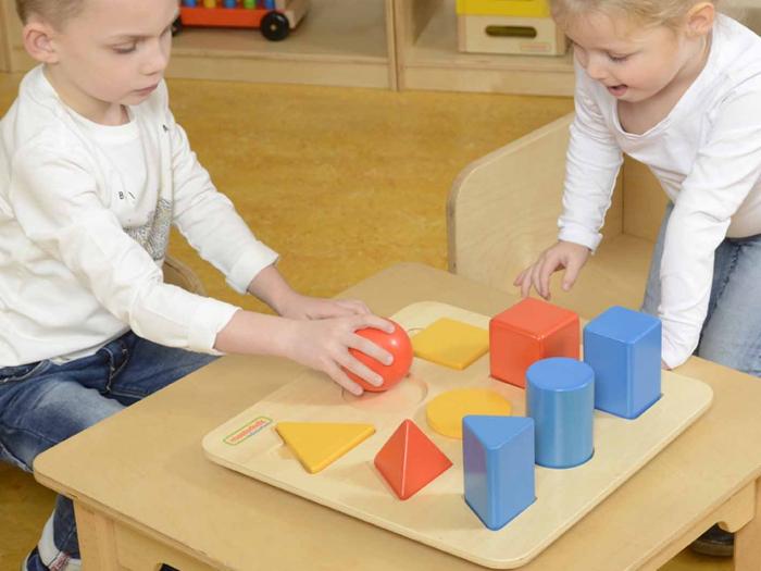 Set educativ forme si corpuri geometrice, din lemn, +2 ani, Masterkidz, pentru gradinite 3