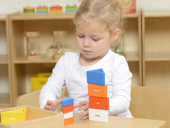 Set educativ prisme triunghiulare si triunghiuri-recipient, din lemn, +2 ani, Masterkidz, pentru gradinite 4