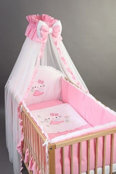 Set Lenjerie patut bebe si copii brodata 6 piese 120x60 Kitty - BebeDesign [0]
