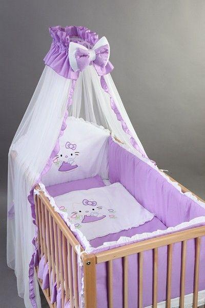 Set Lenjerie patut bebelusi si copii brodata 4 piese 120x60 Kitty - BebeDesign 0