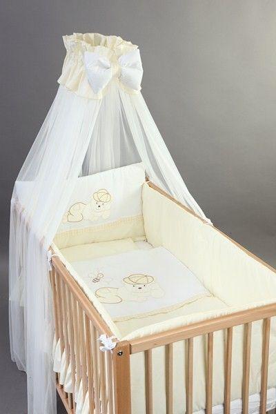 Set Lenjerie patut bebelusi si copii brodata 4 piese 120x60 Ursulet - BebeDesign 0
