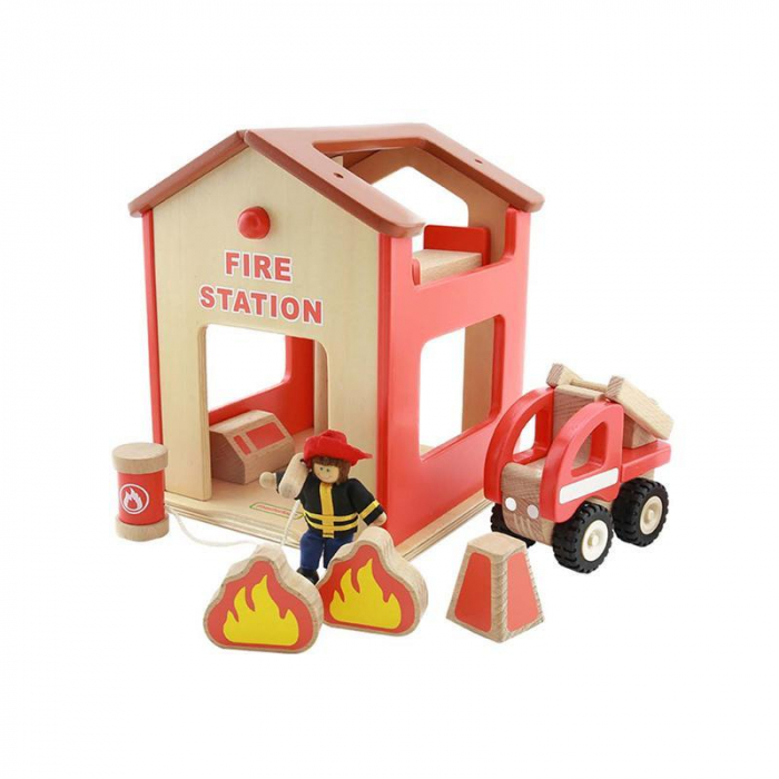 Statie de pompieri de jucarie, din lemn, +3 ani, Masterkidz, pentru gradinite 0