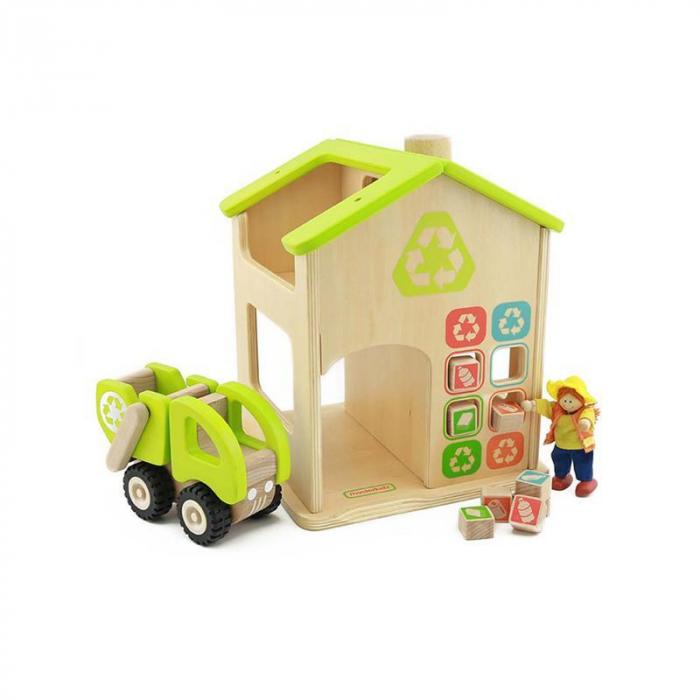 Statie de reciclare de jucarie, din lemn, +3 ani, Masterkidz, pentru gradinite 0