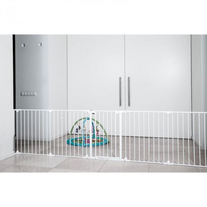 Tarc de siguranta modular cu 5 panouri, metal alb, Noma, N94047 5