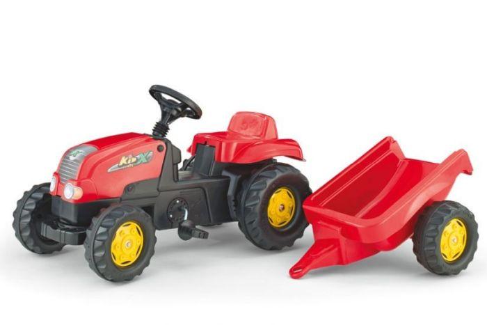 Tractor cu pedale si remorca Rolly Toys 012121 Rosu