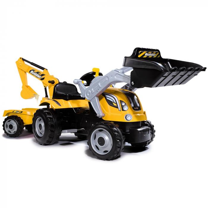 Tractor cu pedale si remorca Smoby Builder Max galben [0]