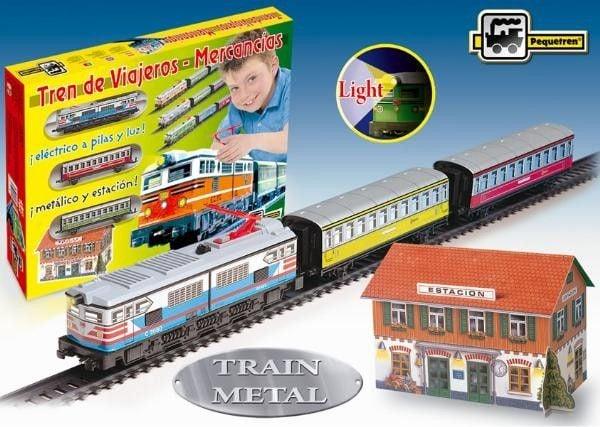 Trenulet electric calatori cu far si macheta (colorat) - Pequetren 0