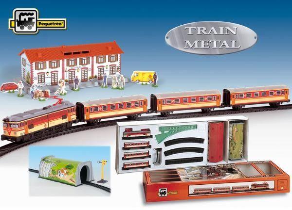 Trenulet electric calatori, cu statie si tunel - Pequetren 0