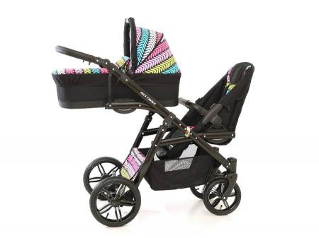 Carucior copii gemeni tandem 3 in 1 PJ STROLLER Lux Multicolor [4]