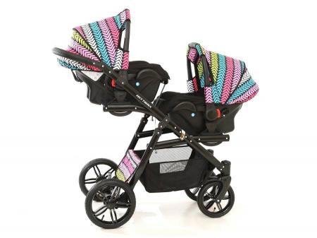 Carucior copii gemeni tandem 3 in 1 PJ STROLLER Lux Multicolor [15]