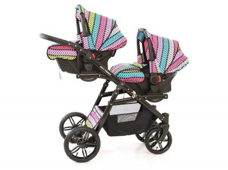 Carucior copii gemeni tandem 3 in 1 PJ STROLLER Lux Multicolor [14]