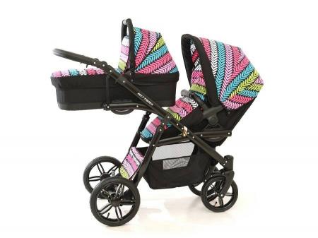 Carucior copii gemeni tandem 3 in 1 PJ STROLLER Lux Multicolor [5]