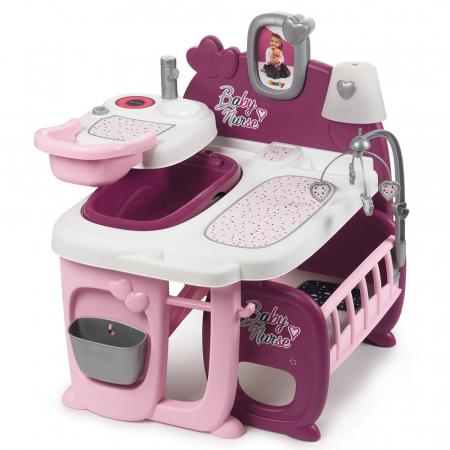 Centru de ingrijire pentru papusi Smoby Baby Nurse Doll`s Play Center mov cu 23 accesorii [2]
