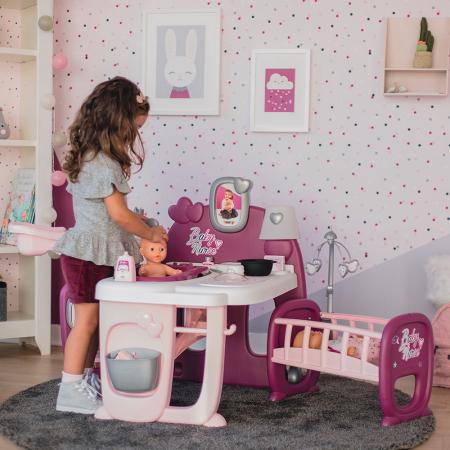Centru de ingrijire pentru papusi Smoby Baby Nurse Doll`s Play Center mov cu 23 accesorii [4]