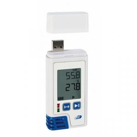 Data Logger profesional cu afisaj pentru temperatura si umiditate cu certificat de etalonare LOG210 PDF0