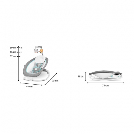 Fotoliu balansoar pliabil Pascal, Grey Scandi - Lionelo [1]