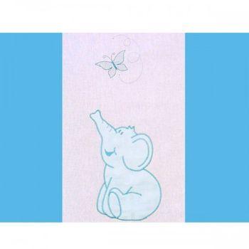 Lenjerie patut cu broderie Hubners Elefant 4 piese albastru1