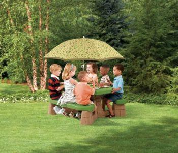 Masa picnic, cu umbrela -maro - Varianta Recolor - Step22