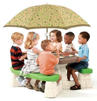 Masa picnic, cu umbrela -maro - Varianta Recolor - Step21