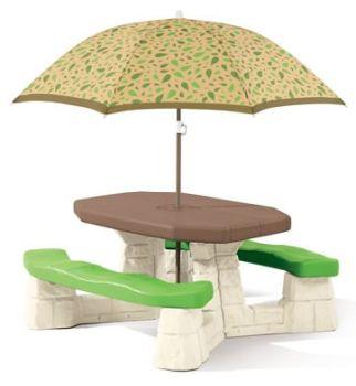 Masa picnic, cu umbrela -maro - Varianta Recolor - Step20