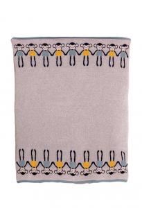 Paturica Tricotata din Bumbac Gri cu Maimute Colorate - Bizzi Growin [0]