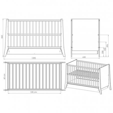 Patut copii din lemn Hubners Cosmo 120x60 cm alb cu sertar [2]