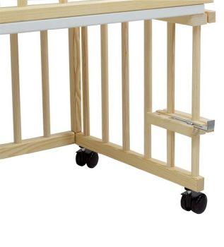 Patut copii lemn fara sertar KLUPS Piccolo Due Natur-Albastru cu Saltea3