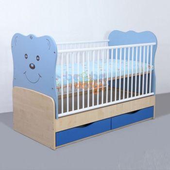 Patut copii transformabil Teddy cu leganare Albastru 140x70 cm0