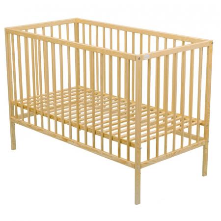 Patut din lemn Maks 120x60 cm Natur + Saltea 10 cm - BabyNeeds [1]