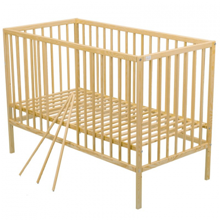 Patut din lemn Maks 120x60 cm Natur + Saltea 8 cm - BabyNeeds [3]