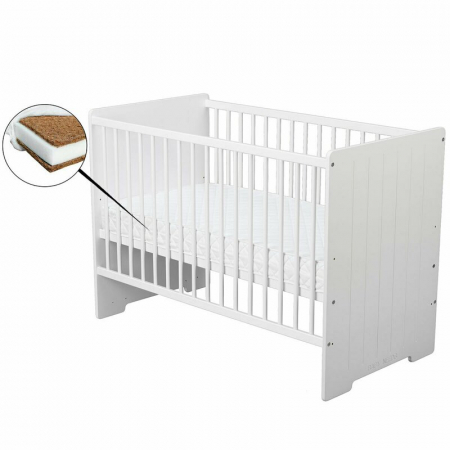 Patut din lemn Skandy Stripe 120x60 cm Alb + Saltea 10 cm - BabyNeeds [0]