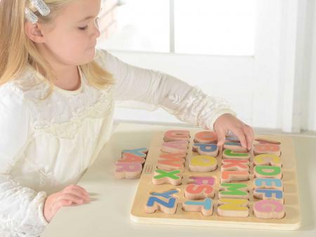 Puzzle 3D alfabet litere mari, din lemn, +3 ani, Masterkidz2