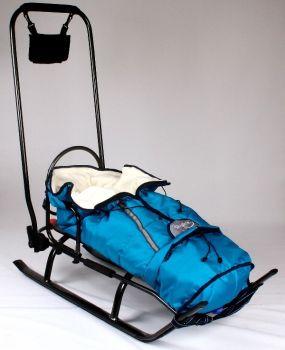 Sanie Salto + saculet material polar albastru - Skyline0