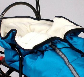Sanie Salto + saculet material polar albastru - Skyline1