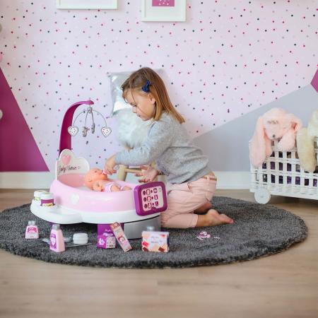 Set cadita si accesorii pentru papusi Smoby Baby Nurse Nursery mov [6]