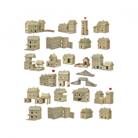Set constructie arhitectura Vario Massive, 209 piese mari din lemn, Walachia3