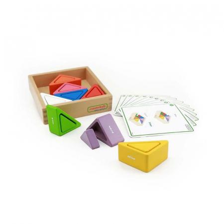 Set educativ prisme triunghiulare si triunghiuri-recipient, din lemn, +2 ani, Masterkidz, pentru gradinite1