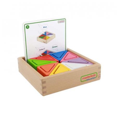 Set educativ prisme triunghiulare si triunghiuri-recipient, din lemn, +2 ani, Masterkidz, pentru gradinite0