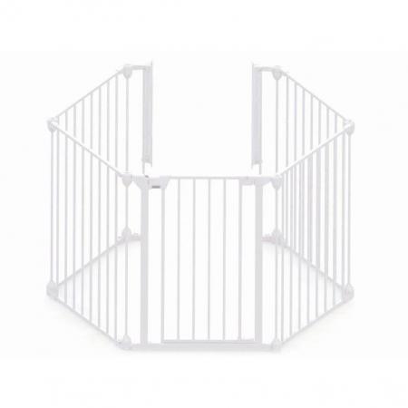 Tarc de siguranta modular cu 5 panouri, metal alb, Noma, N940470
