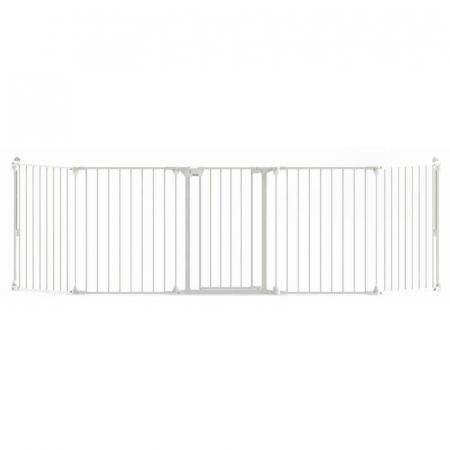 Tarc de siguranta modular cu 5 panouri, metal alb, Noma, N940477
