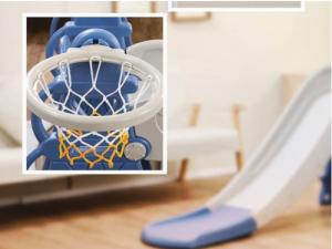 Tobogan MyKids cu leagan, cos de basket si poarta Blue [1]