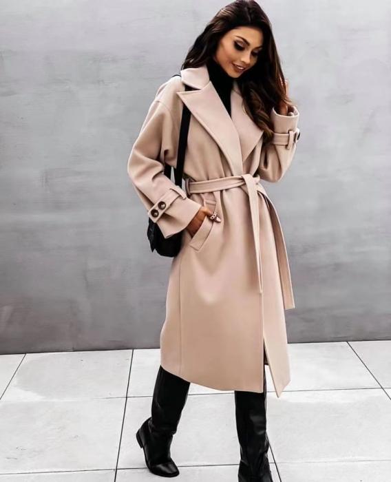 Palton dama clasic bej [0]