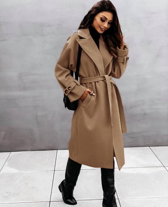 Palton dama clasic maro [0]